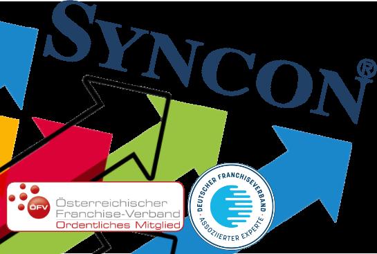 Foto Syncon Team mit Logo des Österreichischen und Deutschen Franchiseverbandes